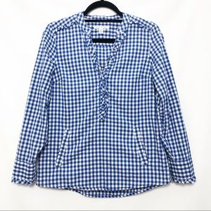 Banana Republic Petite Gingham Button Down Small